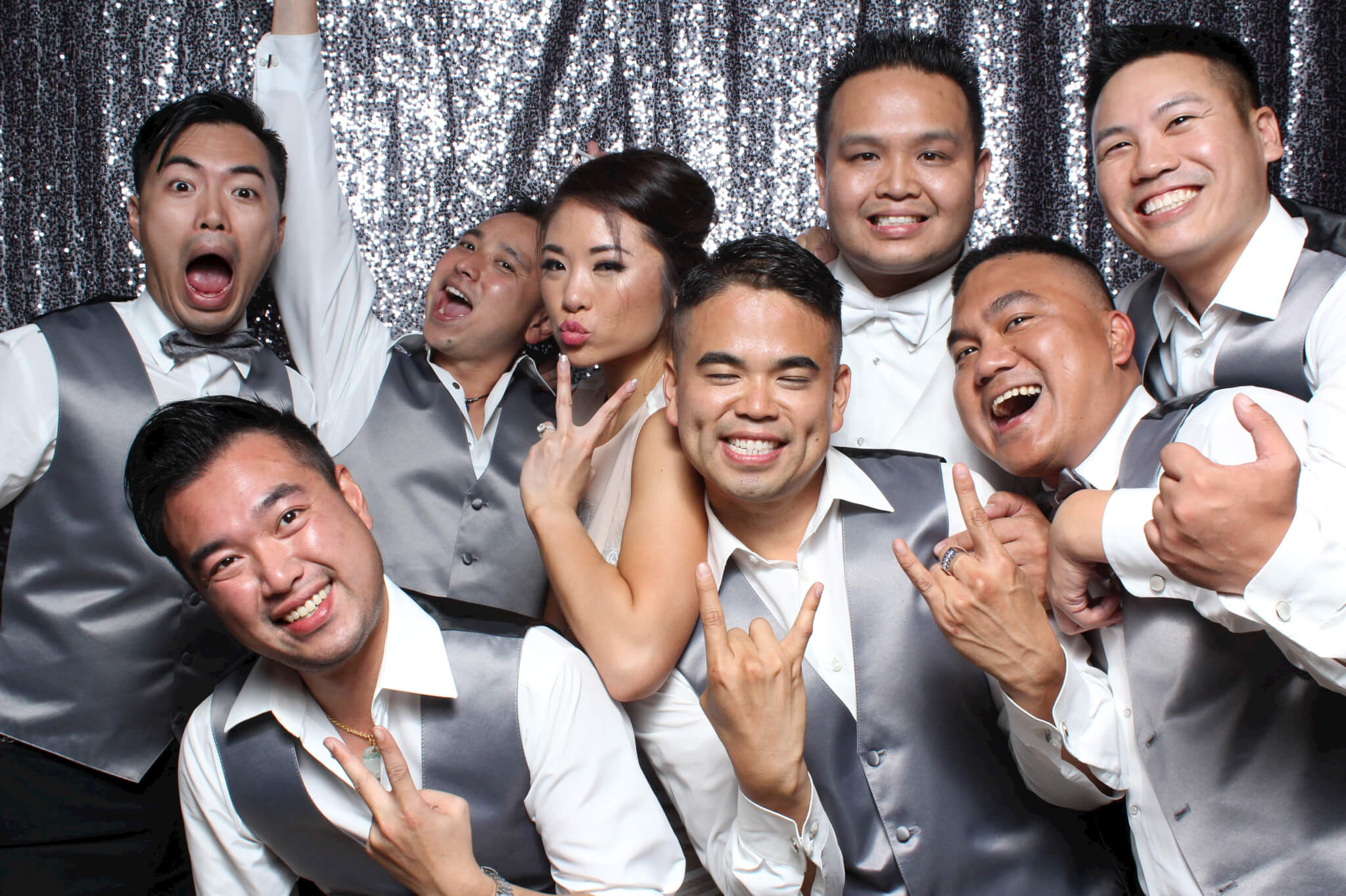 Asian family wedding photo booth in San Francisco